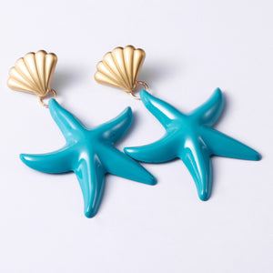 NIRUMON Golden Shell Studs and Starfish Danglers Fashion Earrings - NIRUMON