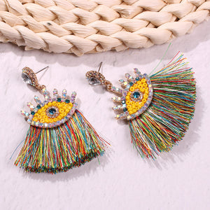 NIRUMON Rhinestone Inlaid Evil Eye Design Tassel Statement Earrings - NIRUMON