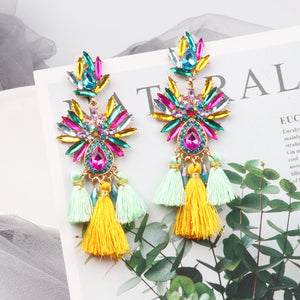 NIRUMON Multi Color Stone Inlaid Tassel Statement Earrings - NIRUMON