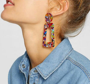 NIRUMON Geometric Design Acrylic Fashion Earrings - NIRUMON