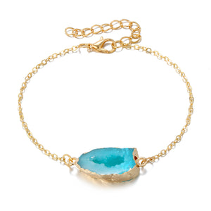 NIRUMON Blue Resin Pendant Golden Fashion Bracelet - NIRUMON