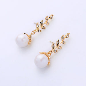 NIRUMON Diamond Inlaid Leaf Brand Design Pearl Dangler Statement Earrings - NIRUMON
