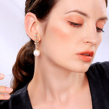 Load image into Gallery viewer, NIRUMON Diamond Inlaid Leaf Brand Design Pearl Dangler Statement Earrings - NIRUMON
