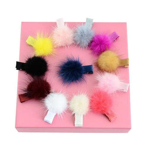 NIRUMON Fluffy Ball Decorated Baby Girl Hair Clip Set - NIRUMON