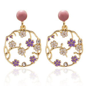 NIRUMON Hollow Flower Hoop Design Bridal Earrings - NIRUMON