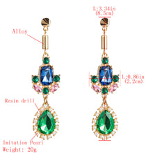 Load image into Gallery viewer, NIRUMON Multicolor Stones Inlaid Waterdrop Shaped Pearl Statement Earrings - NIRUMON