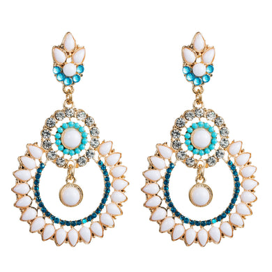 NIRUMON Resin with Pearl Turquoise Statement Earrings - NIRUMON