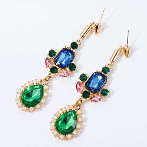 NIRUMON Multicolor Stones Inlaid Waterdrop Shaped Pearl Statement Earrings - NIRUMON