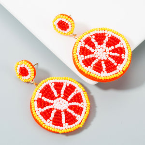 NIRUMON Rice Beaded Lemon Desing Fashion Earrings - NIRUMON