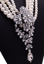 Load image into Gallery viewer, NIRUMON Pearl Multilayer  Diamond Inlaid Pendant Statement Necklace - NIRUMON