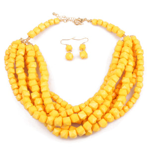 NIRUMON Resin Beaded Fashion Necklace & Earrings Set - NIRUMON