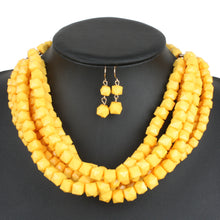 Load image into Gallery viewer, NIRUMON Resin Beaded Fashion Necklace & Earrings Set - NIRUMON