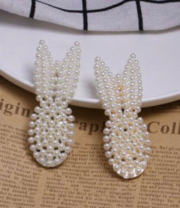 NIRUMON Pearl Bunny Ears Gold Fashion Hair Clips (2pcs) - NIRUMON