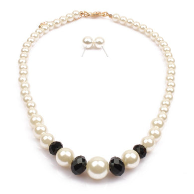 NIRUMON Black Beads & Pearl Fashion Necklace & Earrings Set - NIRUMON
