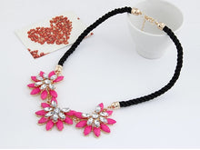 Load image into Gallery viewer, NIRUMON Dazzling flower pave Setting Leather Cord Fashion Necklace - NIRUMON