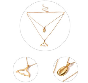 NIRUMON Alloy Seashell and Fish Tail Pendants Combo Dual Layers Golden Fashion Necklace - NIRUMON