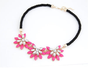 NIRUMON Dazzling flower pave Setting Leather Cord Fashion Necklace - NIRUMON
