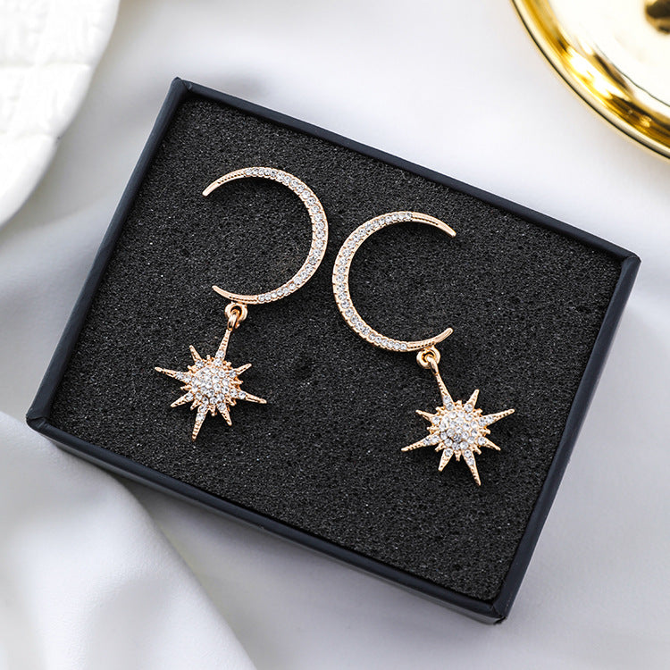 NIRUMON Rhinestone Inlaid Moon & Star Design Statement Earrings - NIRUMON