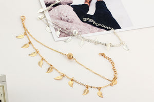 NIRUMON Leaf & Ball Pendants Double Layered Fashion Bracelets - NIRUMON