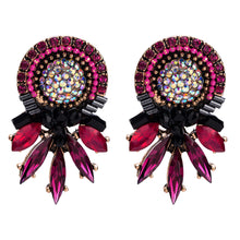 Load image into Gallery viewer, NIRUMON Red Stones Inlaid Flower Design Statement Earrings - NIRUMON