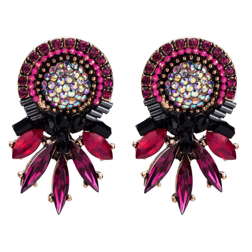 NIRUMON Red Stones Inlaid Flower Design Statement Earrings - NIRUMON