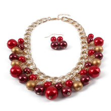 Load image into Gallery viewer, NIRUMON Coloured Pearls Chain Design Fashion Necklace & Earrings Set - NIRUMON