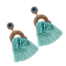 Load image into Gallery viewer, NIRUMON Flower Studs Tassel Design Fashion Earrings - Blue - NIRUMON