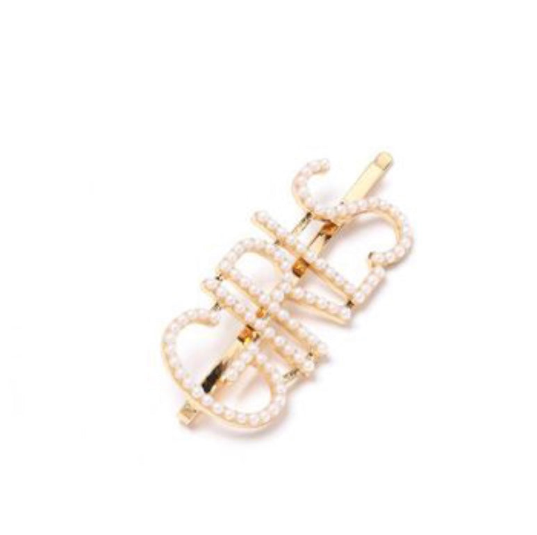 NIRUMON Pearl Inlaid Geometric Design Hair Clip - NIRUMON