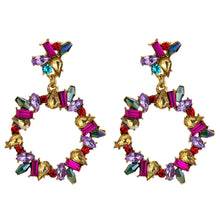 Load image into Gallery viewer, NIRUMON Multicolor Stone Inlaid Geometric Hoop Design Statement Earrings - NIRUMON
