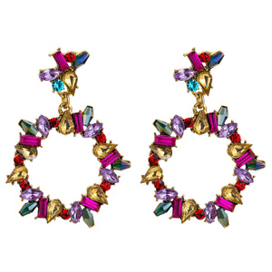 NIRUMON Multicolor Stone Inlaid Geometric Hoop Design Statement Earrings - NIRUMON
