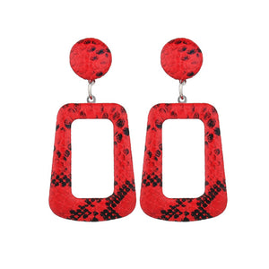 NIRUMON Geometric Design Leapord Print Fashion Earrings - Red - NIRUMON