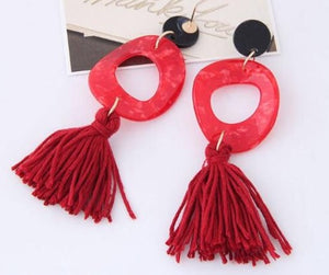 NIRUMON Irregular Oval Shape Red Pendant with Cotton Threads Tassel Design Fashion  Earrings - NIRUMON
