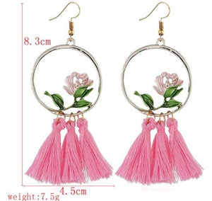 NIRUMON Elegant Rose Inlaid Hoop with Pink Cotton Threads Tassel  Statement Earrings - NIRUMON