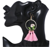 Load image into Gallery viewer, NIRUMON Elegant Rose Inlaid Hoop with Pink Cotton Threads Tassel  Statement Earrings - NIRUMON