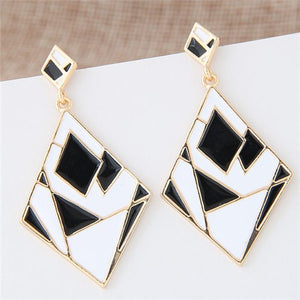 NIRUMON Artistic Rhombus Black and White Statement Earrings - NIRUMON