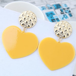 NIRUMON Heart Design Fashion  Earrings - Yellow - NIRUMON