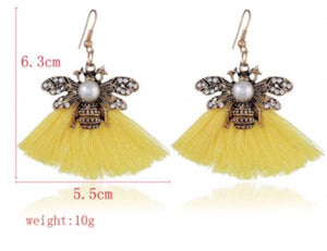 NIRUMON Rhinestone & Pearl Decorated Vintage Bee with Cotton Tassel Design Fashion Earrings - NIRUMON