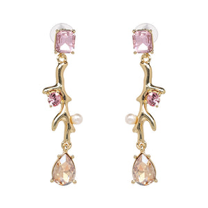 NIRUMON Artificial Diamond Inlaid Branch Design Golden Statement Earrigns - NIRUMON