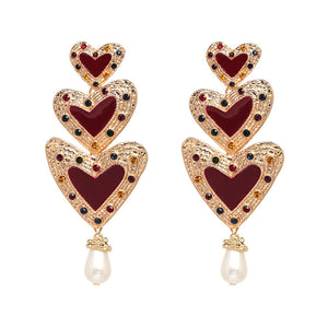 NIRUMON Heart Shaped Pearl Inlaid  Statement Earrings - NIRUMON