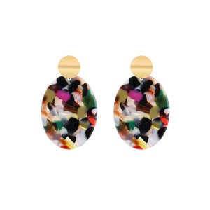 NIRUMON Golden Stud Oval Shaped Multicolour Acrylic Fashion Earrings - NIRUMON