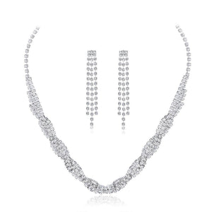 NIRUMON Artificial Diamond Inlaid Silver Statement Earrings & Necklace Set - NIRUMON