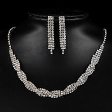 Load image into Gallery viewer, NIRUMON Artificial Diamond Inlaid Silver Statement Earrings & Necklace Set - NIRUMON