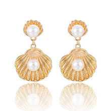 Load image into Gallery viewer, NIRUMON Pearl Inlaid Shell Design Golden Statement Earrings - NIRUMON
