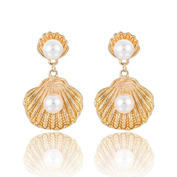 NIRUMON Pearl Inlaid Shell Design Golden Statement Earrings - NIRUMON