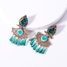 Load image into Gallery viewer, NIRUMON Waterdrop Design Blue Glass Stones Inlaid Statement Earrings - NIRUMON