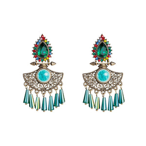 NIRUMON Waterdrop Design Blue Glass Stones Inlaid Statement Earrings - NIRUMON