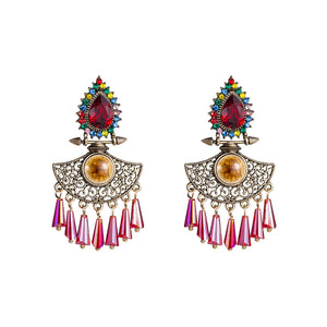 NIRUMON Waterdrop Design Pink Glass Stones Inlaid Statement Earrings - NIRUMON