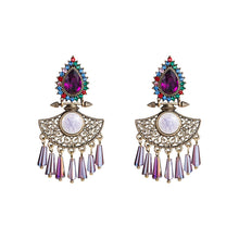 Load image into Gallery viewer, NIRUMON Waterdrop Design Pink Glass Stones Inlaid Statement Earrings - NIRUMON