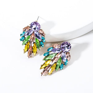 NIRUMON Rhinestone Inlaid Leaf Design Statement Earrings - NIRUMON