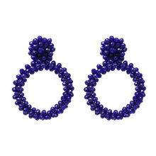 Load image into Gallery viewer, NIRUMON Geometric Design Beaded Fashion Earrings - Blue - NIRUMON